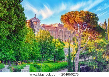 Landscape, Panorama On Basilica Di San Miniato (abbazia Di San Miniato Al Monte)in The Florence From