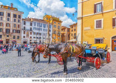 Rome, Italy - May 10, 2017 : Rotund Square (piazza Della Rotonda)  And Pantheon Fountain( Fontana De