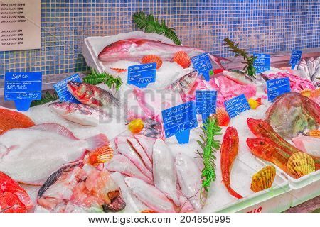 Rome, Italy, May 10, 2017 : Shop, Spermarket, Counter With Dry Forehead And Seafood On It (fish, Shr