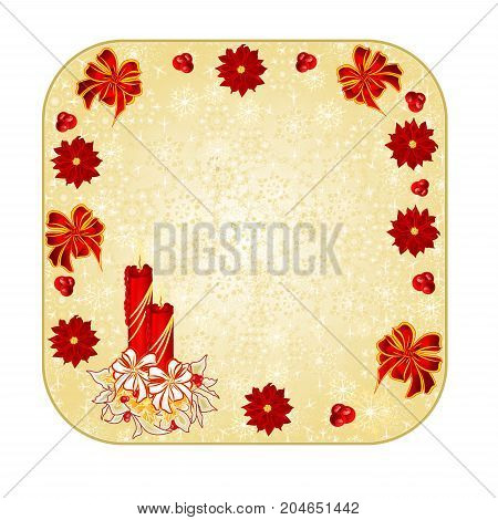 Button square Christmas decoration snowflakes with a candlestick red bow and poinsettia vintage vector illustration editable hand draw