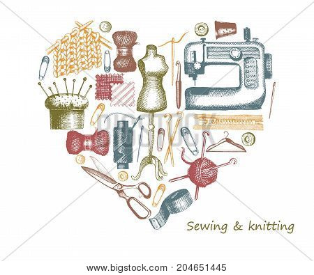Sketches of sewing and needlework. Vector illustration of tools and materials in the form of a heart