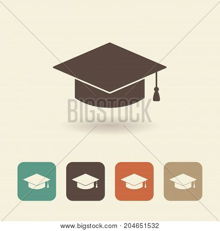 Icon caps graduate with a shadow. Vector logo