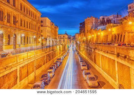 Beautiful Landscape Of  Rome City Through Street Via Degli Annibaldi  In The Night Time.