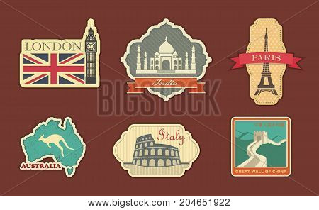 Stickers of travel. London India Paris Italy Australia China