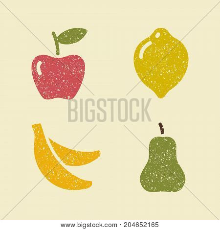 Stylized images of fruits. Apple lemon banana and pear