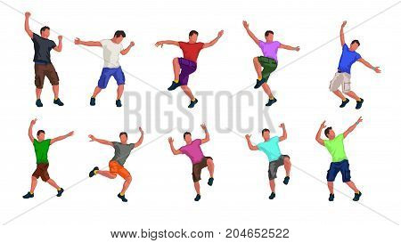 illustration of man dance in various poses in set with colorful clothes isolated on white background