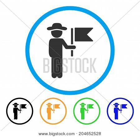 Gentleman Commander icon. Vector illustration style is a flat iconic gentleman commander gray rounded symbol inside light blue circle with black, green, blue, yellow color variants.