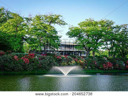 Fountain On The Lake In Akita, Japan