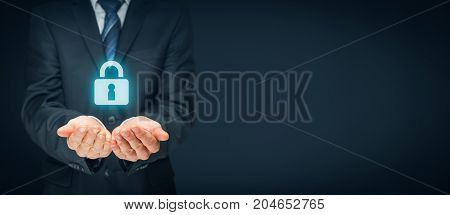 Security services and protection concept. Login, sign in concepts. Businessman offer padlock symbol of security.