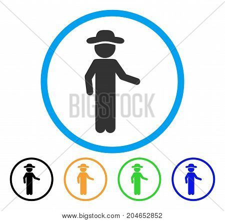 Gentleman Invitation icon. Vector illustration style is a flat iconic gentleman invitation grey rounded symbol inside light blue circle with black, green, blue, yellow color versions.