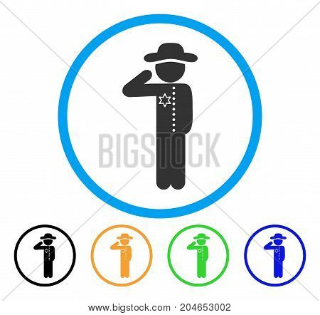 Gentleman Officer icon. Vector illustration style is a flat iconic gentleman officer gray rounded symbol inside light blue circle with black, green, blue, yellow color versions.