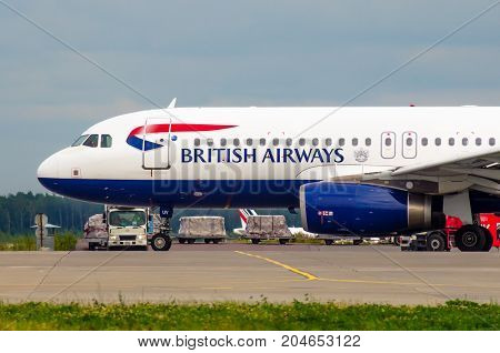 Airbus A319 British Airways, Airport Pulkovo, Russia Saint-petersburg 10 August, 2017