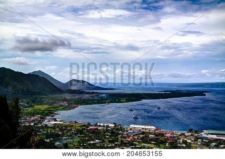 Eruption of Tavurvur volcano at Rabaul New Britain island Papua New Guinea