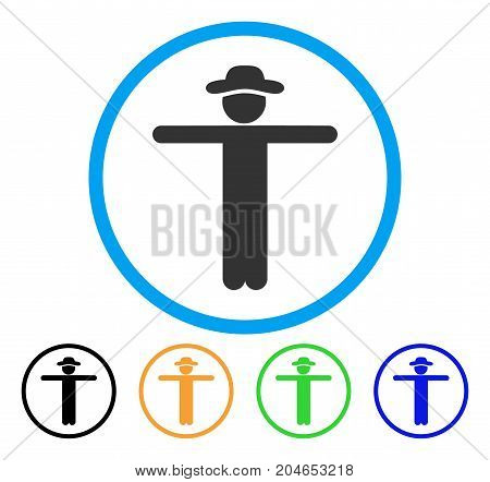 Gentleman Scarescrow icon. Vector illustration style is a flat iconic gentleman scarescrow grey rounded symbol inside light blue circle with black, green, blue, yellow color versions.