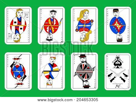 the illustration the set of cards for mafia.