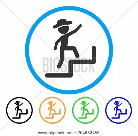 Gentleman Steps Upstairs icon. Vector illustration style is a flat iconic gentleman steps upstairs grey rounded symbol inside light blue circle with black, green, blue, yellow color variants.
