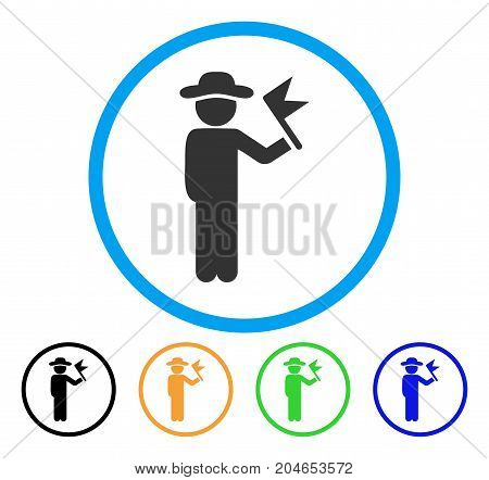 Gentleman With Flag icon. Vector illustration style is a flat iconic gentleman with flag grey rounded symbol inside light blue circle with black, green, blue, yellow color variants.