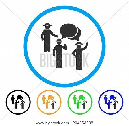 Gentlemen Discussion icon. Vector illustration style is a flat iconic gentlemen discussion gray rounded symbol inside light blue circle with black, green, blue, yellow color versions.
