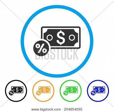 Banknote Percent icon. Vector illustration style is a flat iconic banknote percent grey rounded symbol inside light blue circle with black, green, blue, yellow color versions.