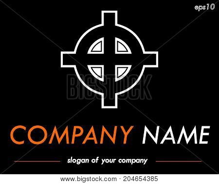 Celtic cross vector logo template for marine agency shipping company or other businesses logotype for a company or a brand isolated over black background logo outline emblem element