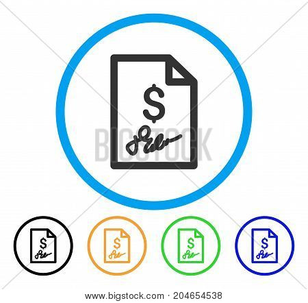 Invoice Page icon. Vector illustration style is a flat iconic invoice page grey rounded symbol inside light blue circle with black, green, blue, yellow color versions.