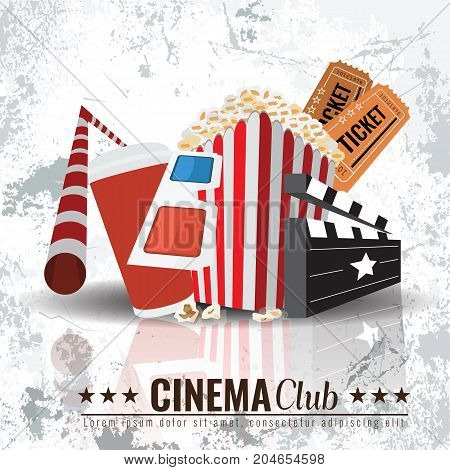 Beautiful Super Trendy Cinema Poster. Popcorn bowl, disposable cup for drinks with straw, ticket, 3d glasses. Cinema attributes. Vector with solid colors with grunge background