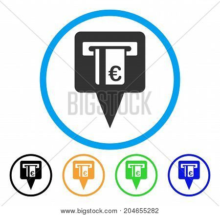 Euro ATM Pointer icon. Vector illustration style is a flat iconic euro ATM pointer gray rounded symbol inside light blue circle with black, green, blue, yellow color versions.