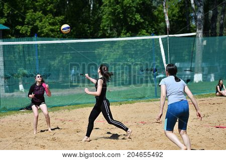 Orenburg, Russia, 9-10 June 2017 Year: Girl Playing Beach Volleyball