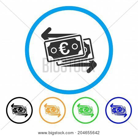 Euro Banknotes Change icon. Vector illustration style is a flat iconic euro banknotes change grey rounded symbol inside light blue circle with black, green, blue, yellow color variants.