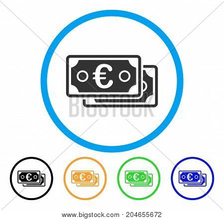 Euro Banknotes icon. Vector illustration style is a flat iconic euro banknotes gray rounded symbol inside light blue circle with black, green, blue, yellow color versions.