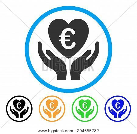 Euro Care Hands icon. Vector illustration style is a flat iconic euro care hands grey rounded symbol inside light blue circle with black, green, blue, yellow color versions.