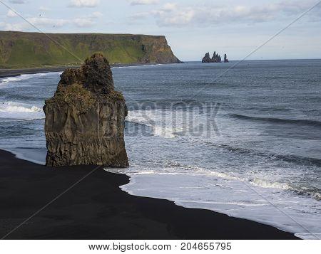 Black sand beach at Dyrholaey in Iceland