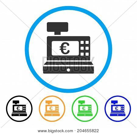 Euro Cashbox icon. Vector illustration style is a flat iconic euro cashbox gray rounded symbol inside light blue circle with black, green, blue, yellow color variants.