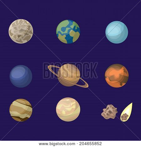Planets in space set. Uranus and saturn, earth and pluto.