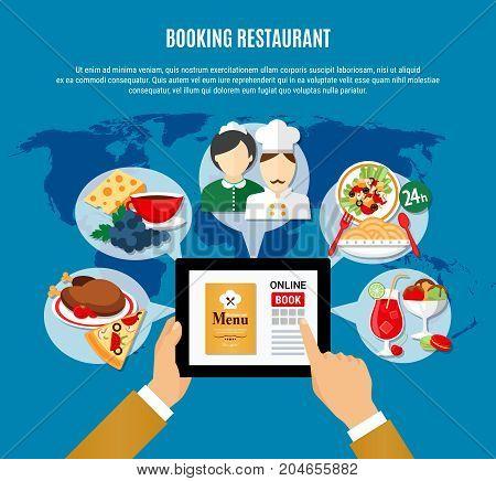 Man reading menu and booking restaurant online flat vector illustration