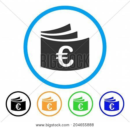 Euro Checkbook icon. Vector illustration style is a flat iconic euro checkbook grey rounded symbol inside light blue circle with black, green, blue, yellow color versions.