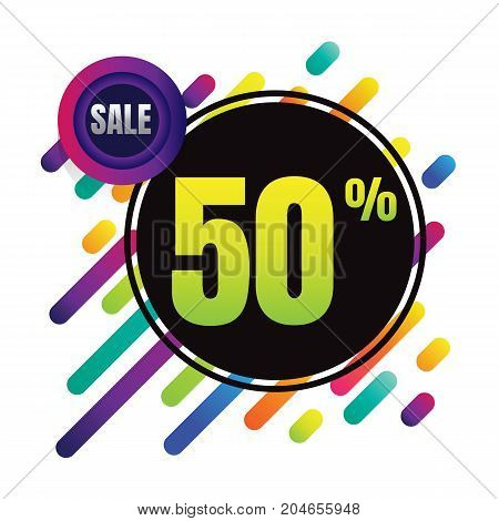 Sale discount 50% banner on white background. vector illustration. colorful