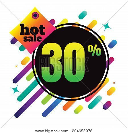 Sale discount 30% banner on white background. vector illustration. colorful
