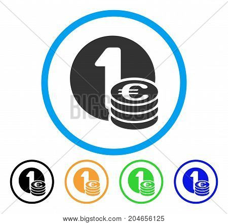 Euro Coins icon. Vector illustration style is a flat iconic euro coins grey rounded symbol inside light blue circle with black, green, blue, yellow color versions.
