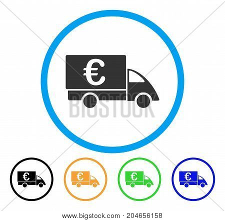 Euro Collector Car icon. Vector illustration style is a flat iconic euro collector car gray rounded symbol inside light blue circle with black, green, blue, yellow color variants.