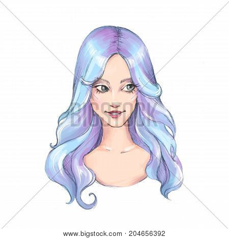 Beautiful girl with long blue hair. Colorful illustration