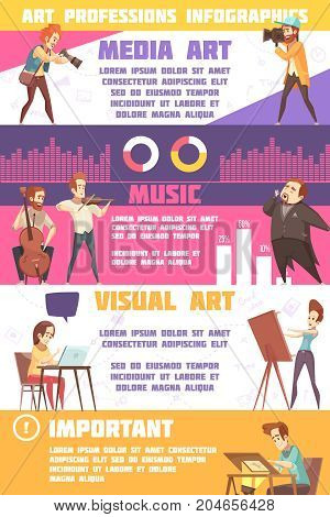 Art professions infographic set with avisual and media art symbols flat isolated vector illustration