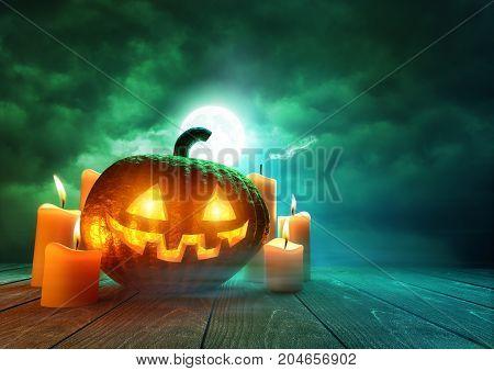 A glowing Pumpkin Jack-O-Lantern lit by an eerie green moonlight on Halloween mixed media illustration.