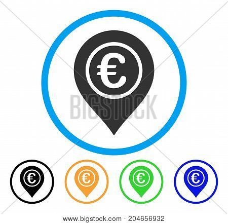 Euro Pointer icon. Vector illustration style is a flat iconic euro pointer gray rounded symbol inside light blue circle with black, green, blue, yellow color variants.