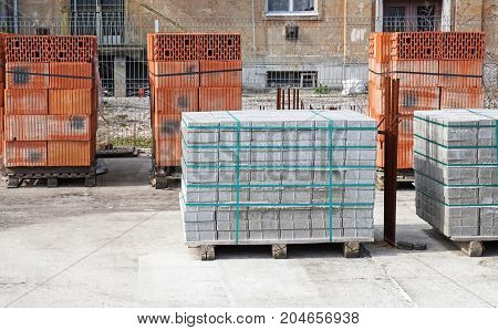 Brick and concrete construction materials at the construction site