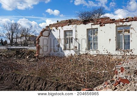 House wall under demolition in the city