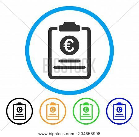 Euro Prices Pad icon. Vector illustration style is a flat iconic euro prices pad gray rounded symbol inside light blue circle with black, green, blue, yellow color versions.