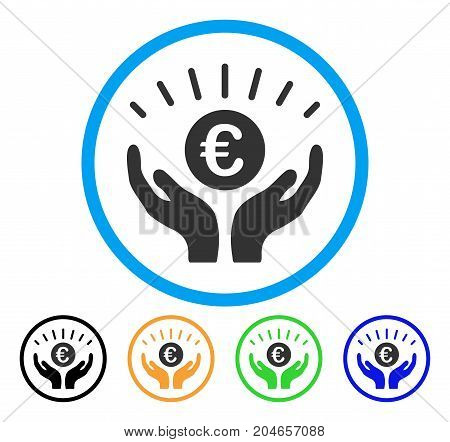 Euro Prosperity icon. Vector illustration style is a flat iconic euro prosperity grey rounded symbol inside light blue circle with black, green, blue, yellow color versions.