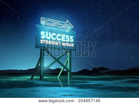A neon glowing road sign of success. Conceptual background mixed media illustration.