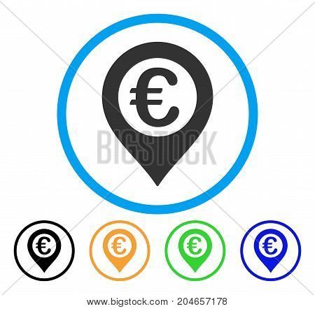 Euro Pushpin icon. Vector illustration style is a flat iconic euro pushpin grey rounded symbol inside light blue circle with black, green, blue, yellow color variants.